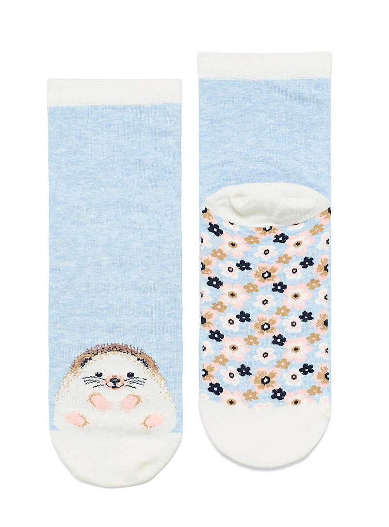 Simons Baby Blue Cheerful animal ankle socks for women