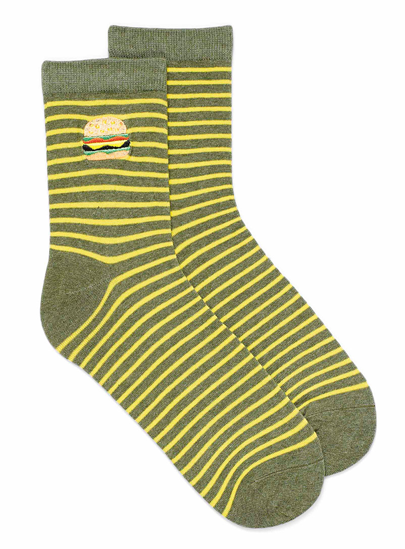 Simons Mossy Green Stripes and snacks socks for women