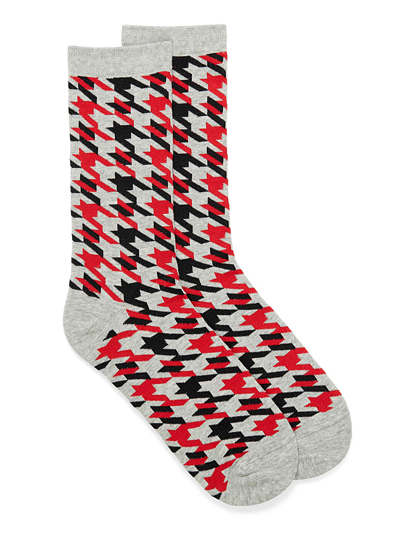 Simons Assorted grey Organic cotton houndstooth socks for women
