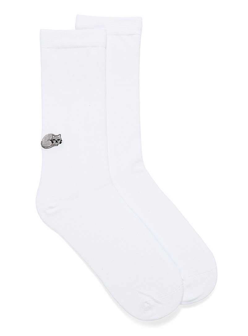 Simons White Charming embroidered pantyhose for women
