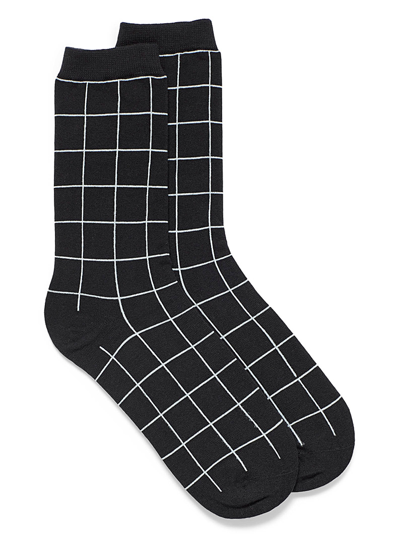 Simons White Windowpane check socks for women