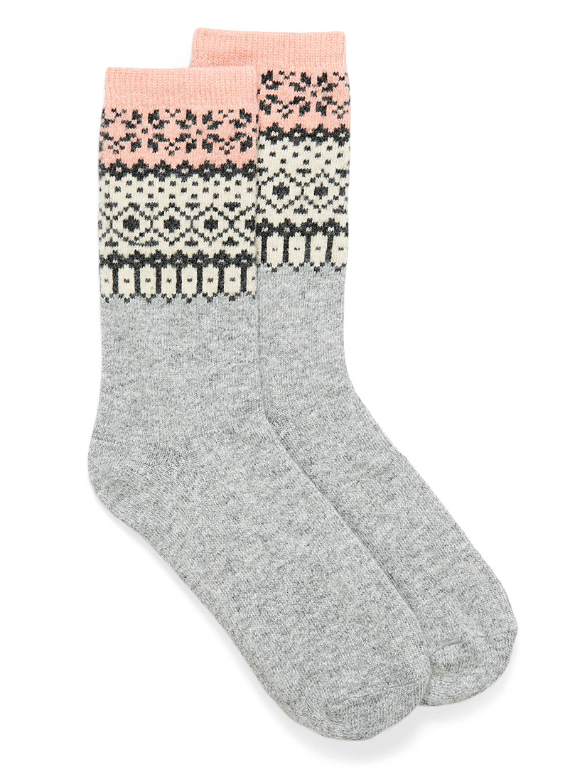 Simons Assorted grey Wintery jacquard socks for women