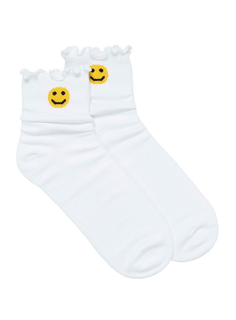 Simons Ivory White Organic cotton ankle-drawing socks for women