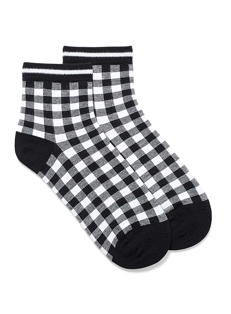 Simons Assorted black Organic cotton gingham ankle socks for women