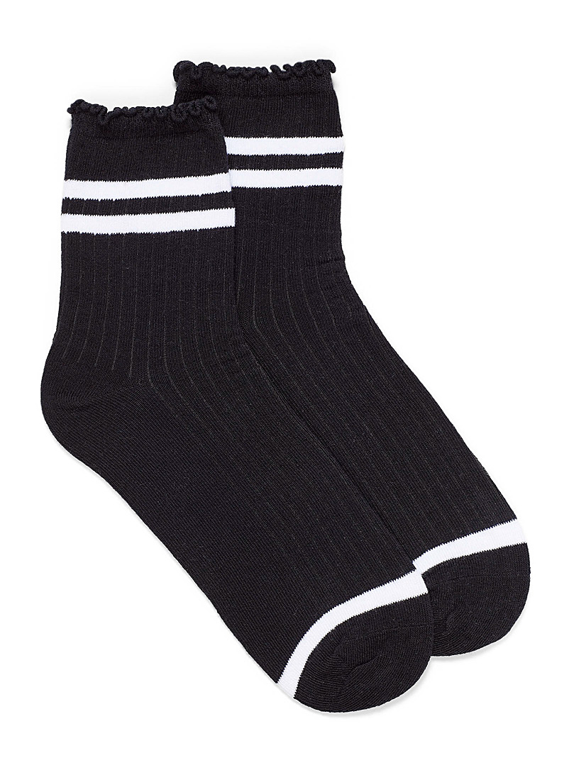 Simons Black Striped ruffle ankle sock for women