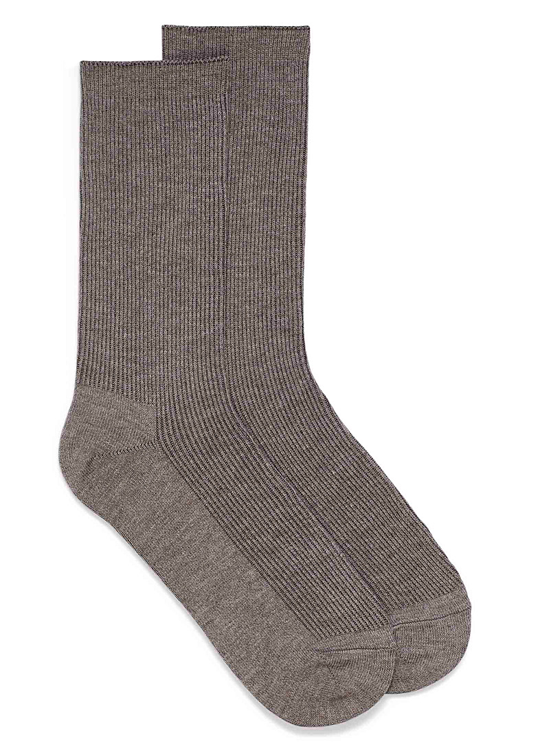 Simons Light Brown Touch of wool minimalist sock for women