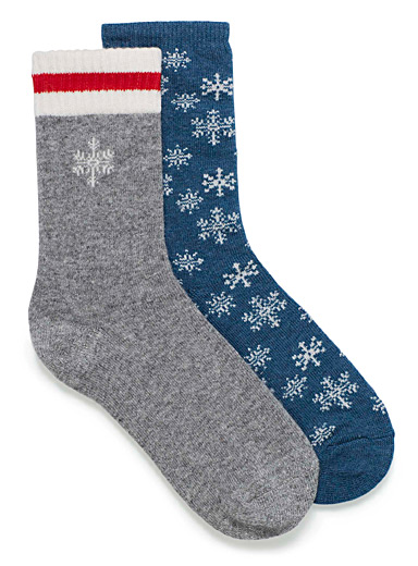 Shimmery snowflakes work socks  Set of 2
