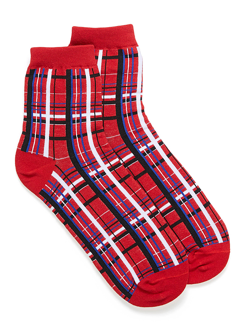 Bright stripe ankle socks - Socks - Red
