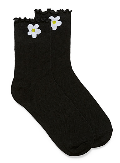 Simons Black Organic cotton crest ruffle ankle socks for women