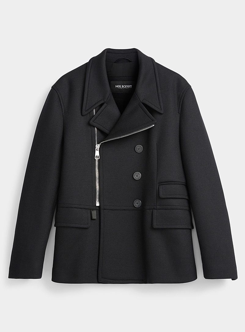 Zip and button peacoat