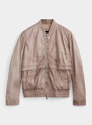 Faux-bleached genuine leather bomber jacket