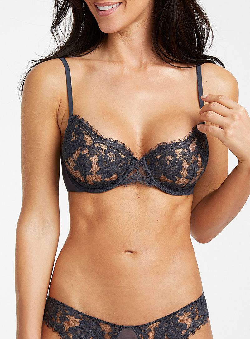La Perla Dark Grey Lawinia Rose lace balconette bra for women