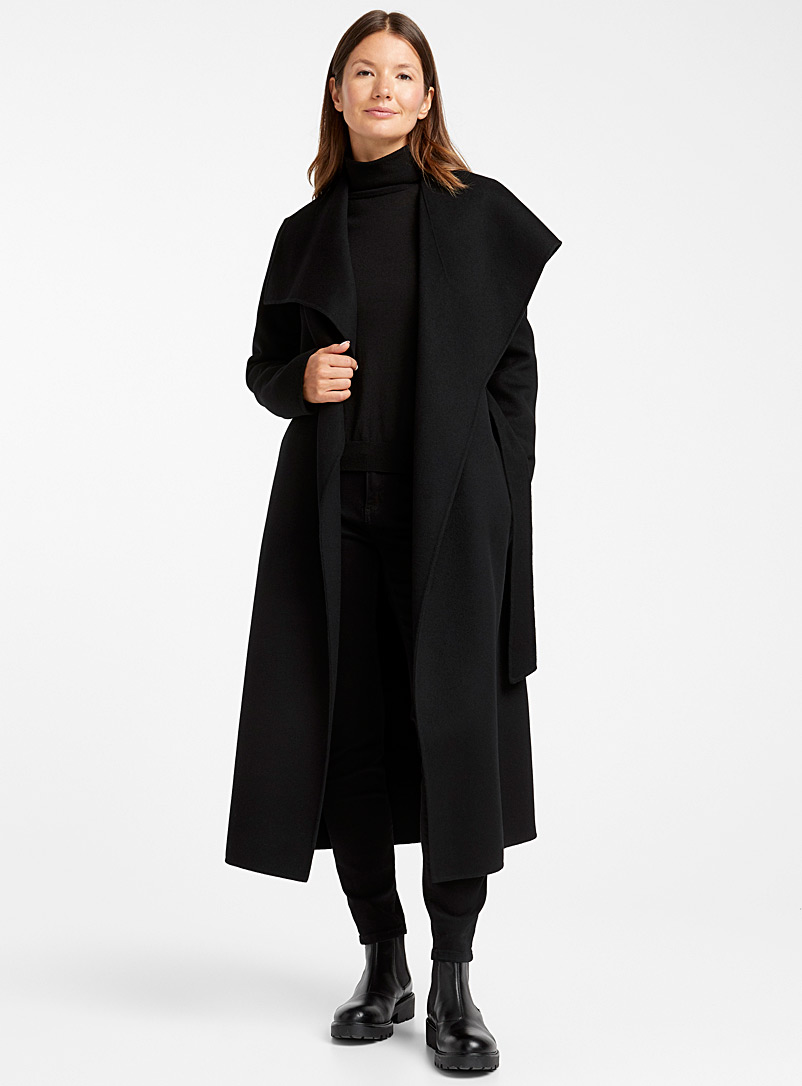 Mackage Black Mai lapel collar wool coat for women