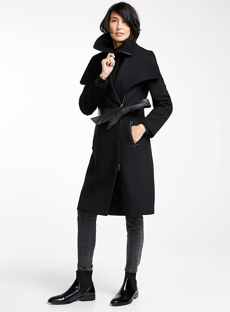 Nori leather belt coat - Wool - Black