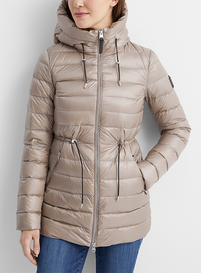 Mackage Cream Beige Ivy metallic zip puffer jacket for women