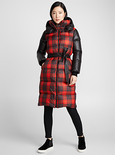 Haiko long tartan puffer jacket