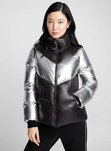 Jess silver block cropped puffer