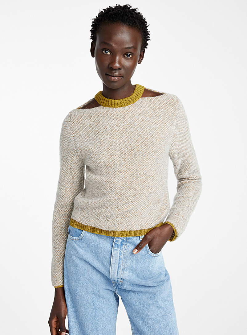 Eckhaus Latta Light Brown Two-tone Clavicle sweater for women