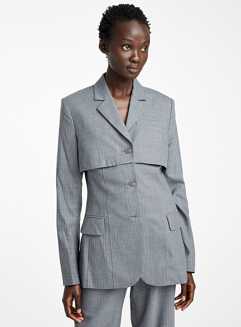 Eckhaus Latta Grey Abreviated blazer for women