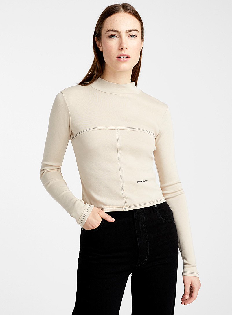 High-neck Lapped Baby top - Eckhaus Latta - Sand