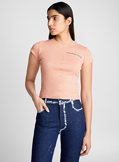 Seamed cropped T-shirt