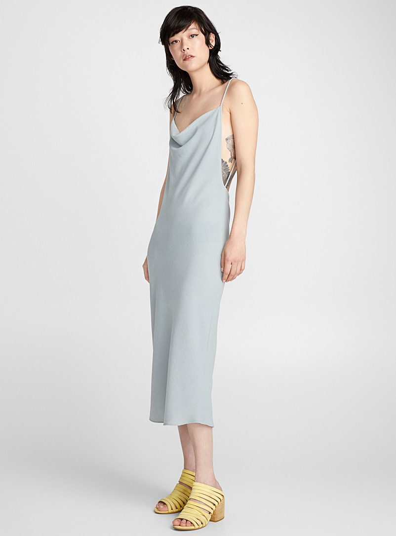 Beaded cowl dress - Eckhaus Latta - Grey