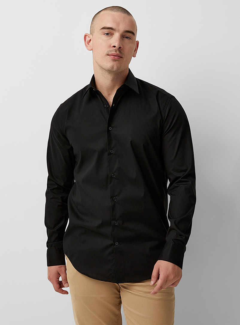 Le 31 Black Stretch monochrome shirt  Modern fit for men
