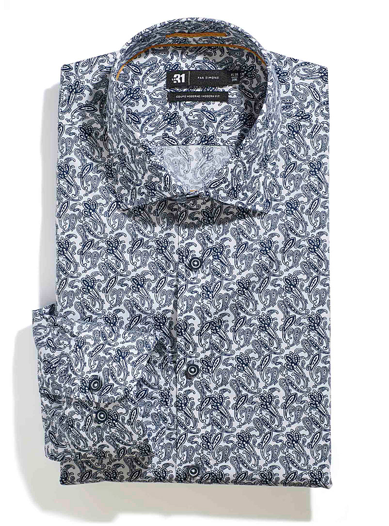 Traced paisley shirt  Modern fit - Modern fit - Blue