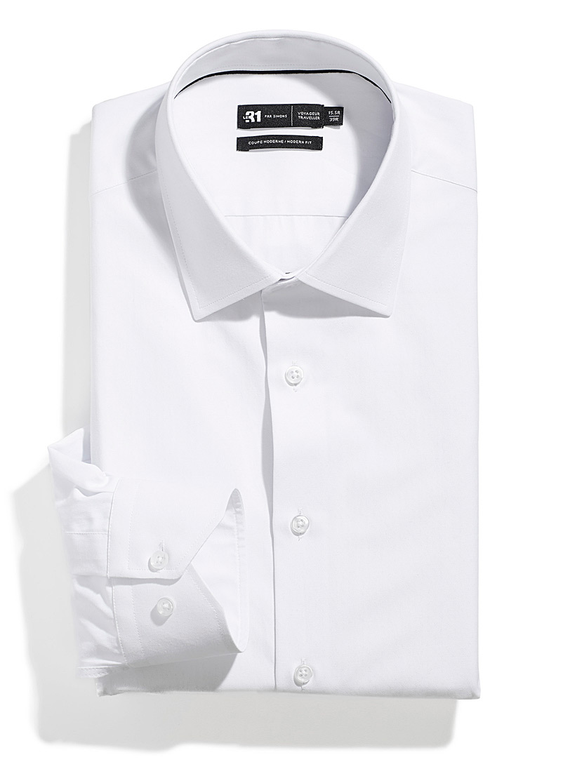Le 31 White Jacquard Traveller shirt  Modern fit for men