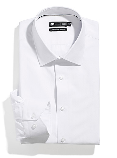 Le 31 White Geometric jacquard shirt  Modern fit for men