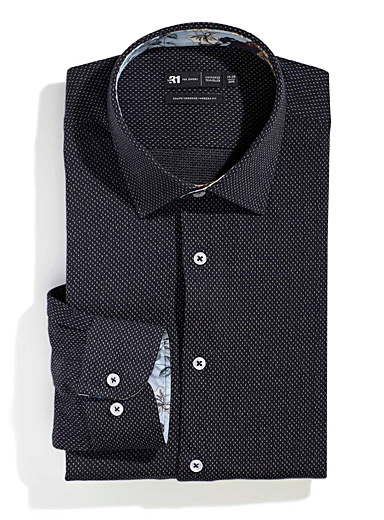 Le 31 Patterned Black Jacquard knit shirt  Modern fit for men