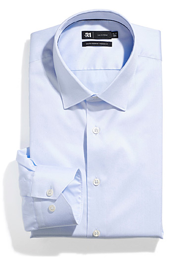 Le 31 Baby Blue Easy-care satiny cotton shirt  Modern fit for men
