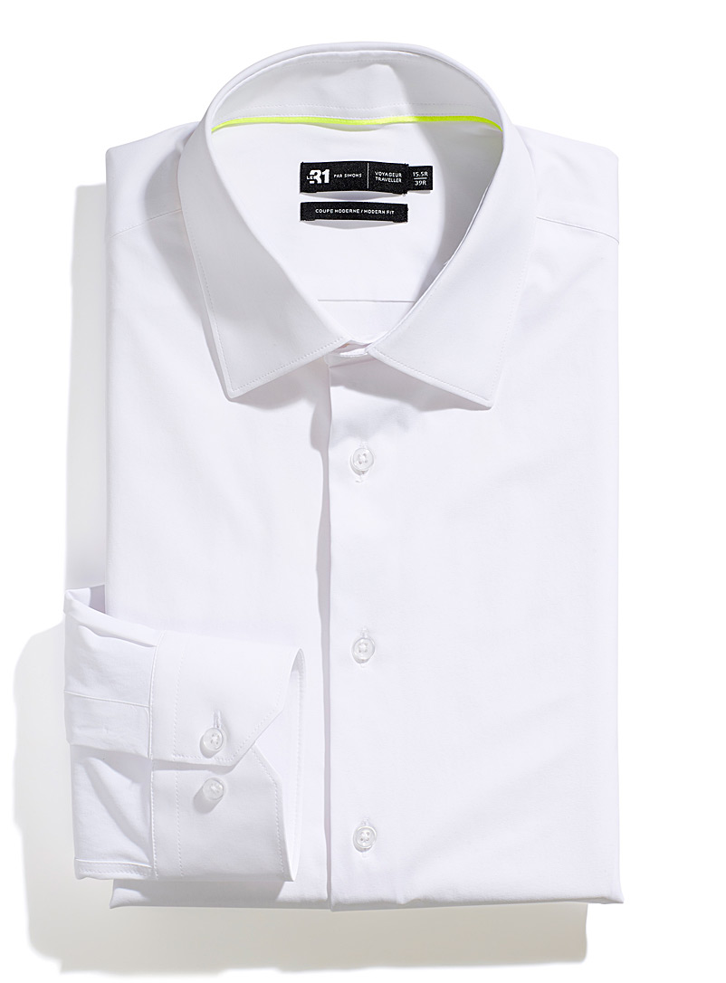 Le 31 White High-performance faux-nylon shirt  Modern fit for men