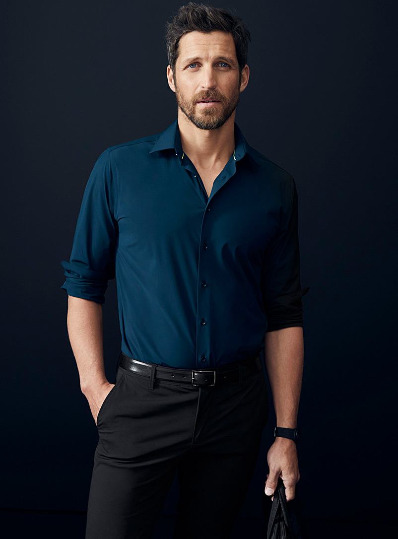 Le 31 Blue High-performance faux-nylon shirt  Modern fit for men