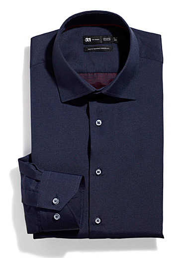 Le 31 Marine Blue Micro-dot jacquard shirt  Modern fit for men
