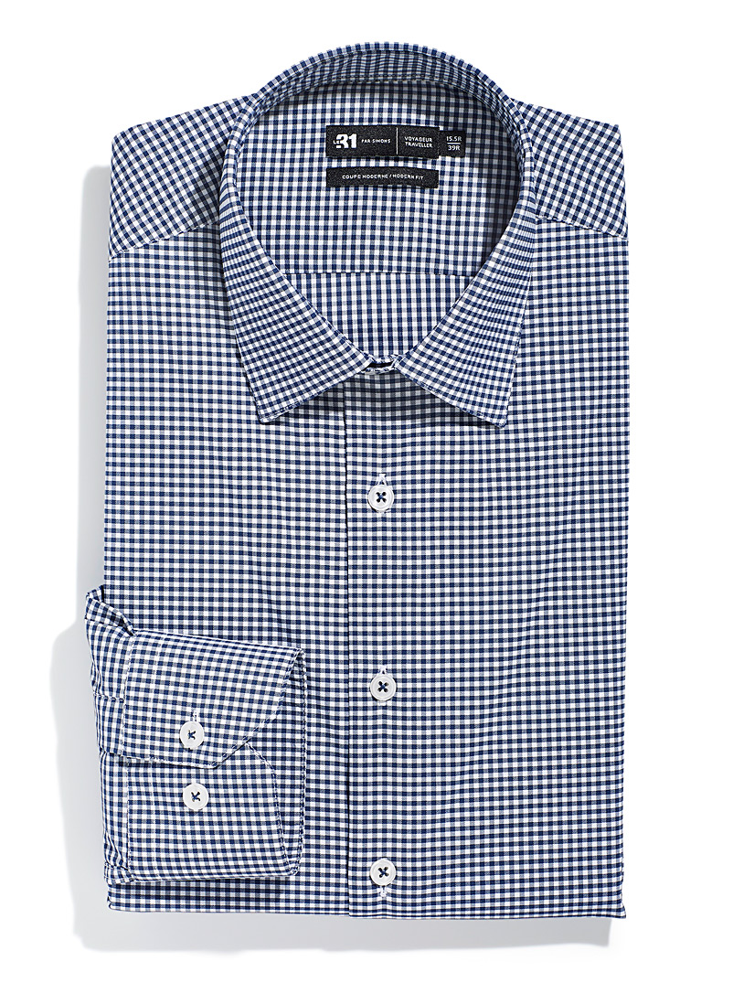 Le 31 Blue Graphic pattern performance shirt Modern fit for men