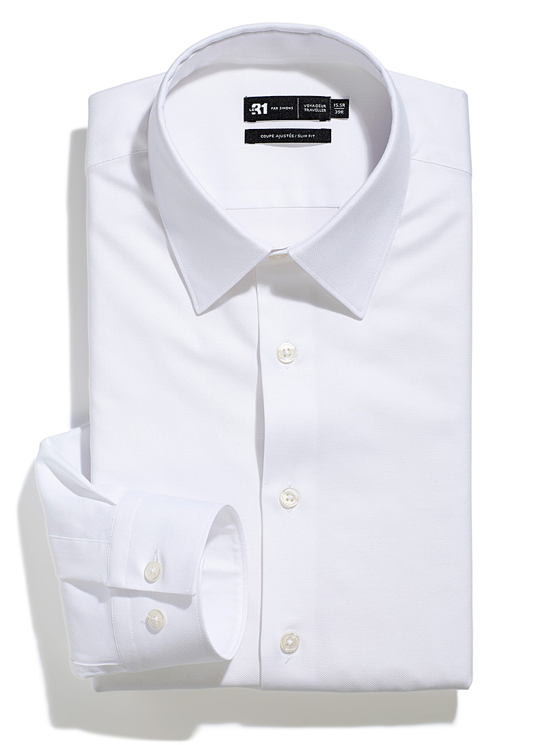 Le 31 White Stretch piqué performance shirt Slim fit for men