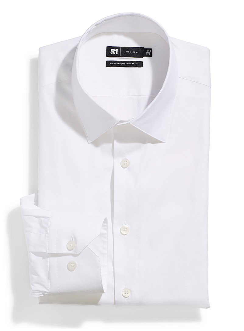 Le 31 White Stretch shirt  Modern fit for men