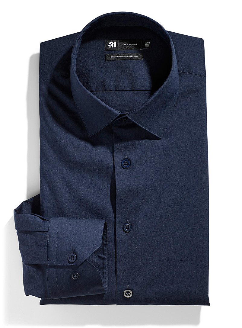 Le 31 Marine Blue Stretch shirt  Modern fit for men