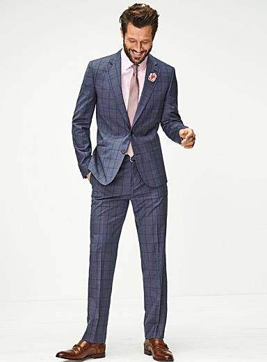 Windowpane check chambray suit <br>London fit-Semi-slim