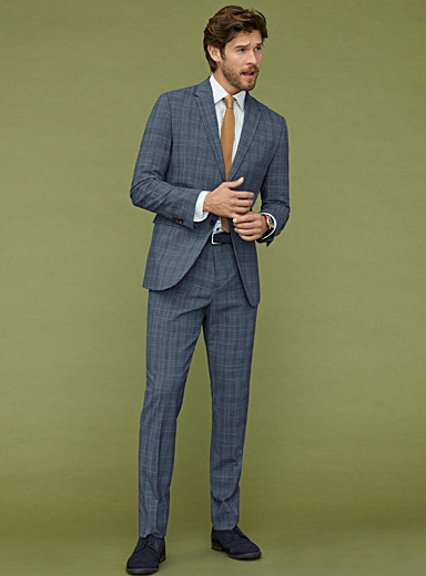 Chambray Prince of Wales suit <br>London fit-Semi-slim