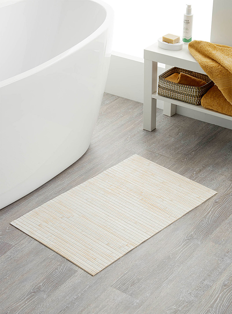Bamboo slat bath mat  50 x 80 cm - Bathroom Accessories - White