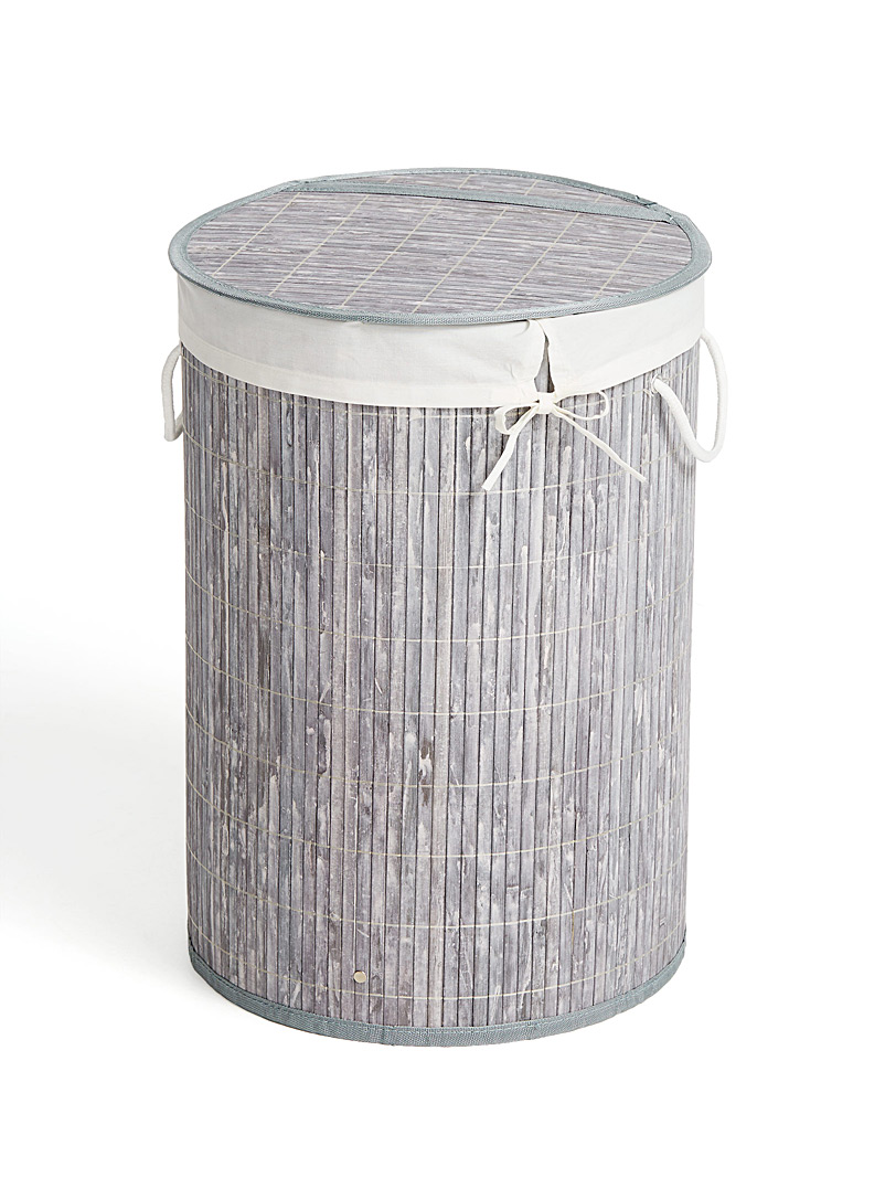 Bamboo round laundry basket - Baskets & Storage - Light Grey