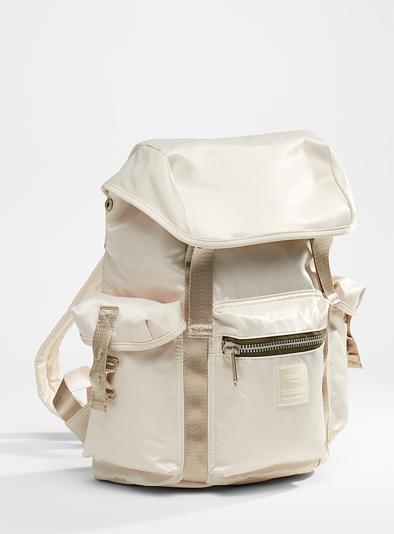 Anello Ivory White Multipocket utility backpack for women
