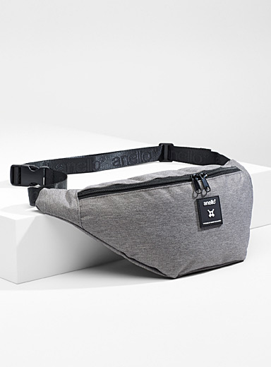 Anello Grey Utility canvas belt bag for women