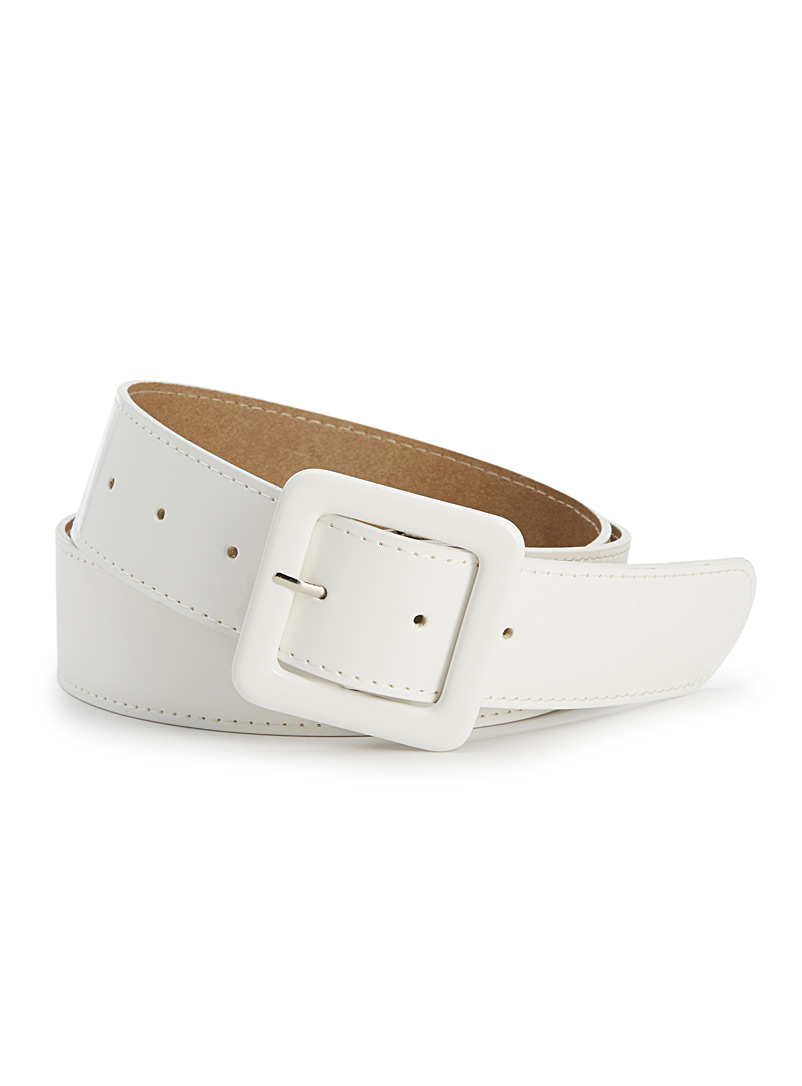Shiny coated belt - Belts - White