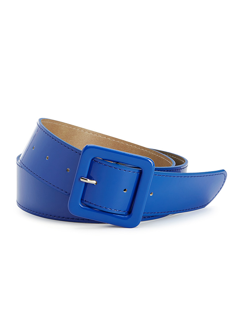 Shiny coated belt - Belts - Blue