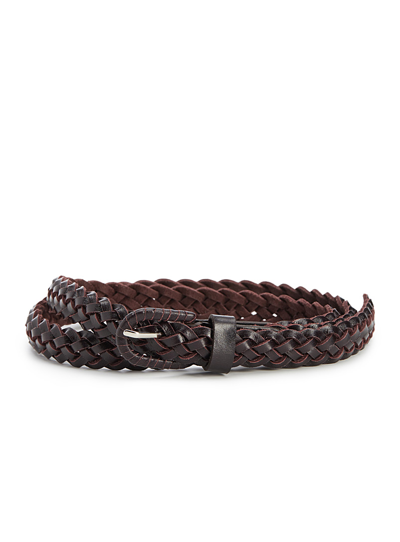 Colourful braided leather belt - Belts - Dark Brown