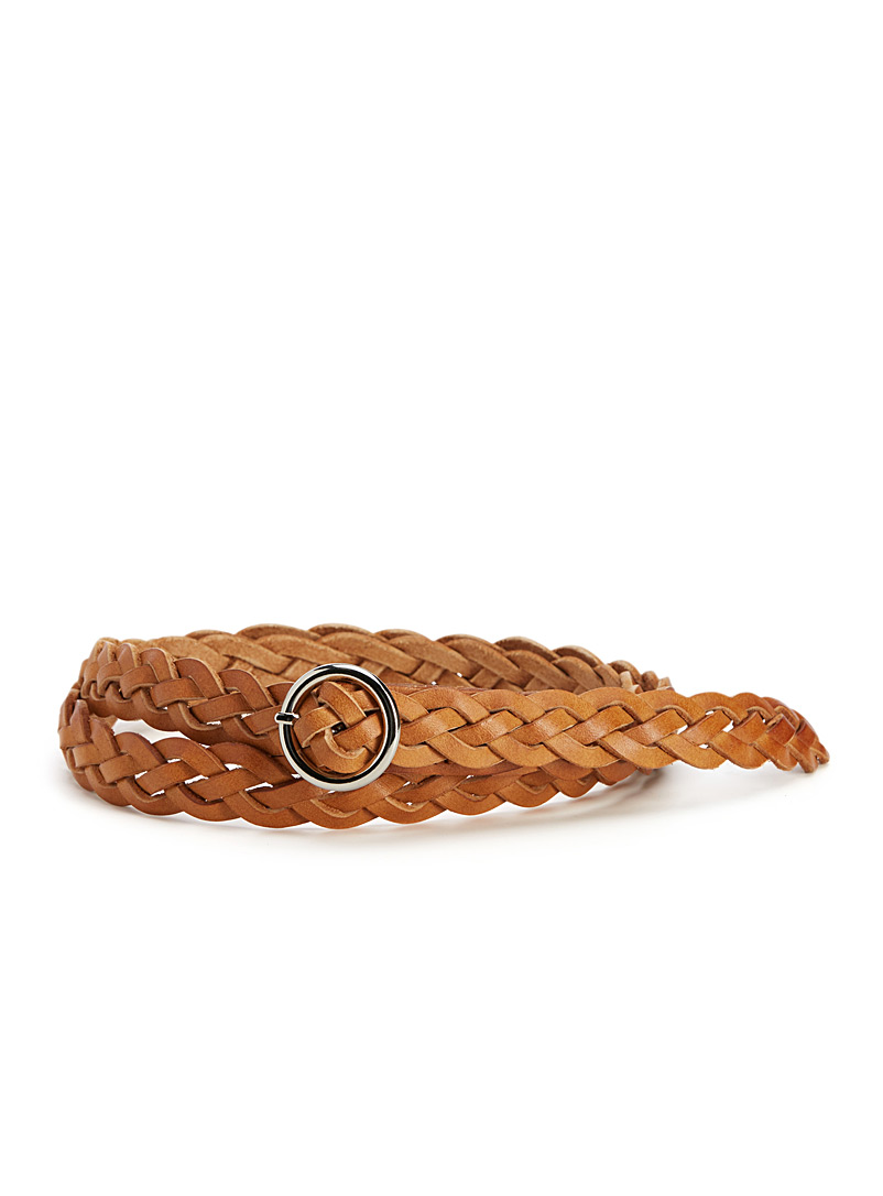Braided leather belt - Belts - Fawn