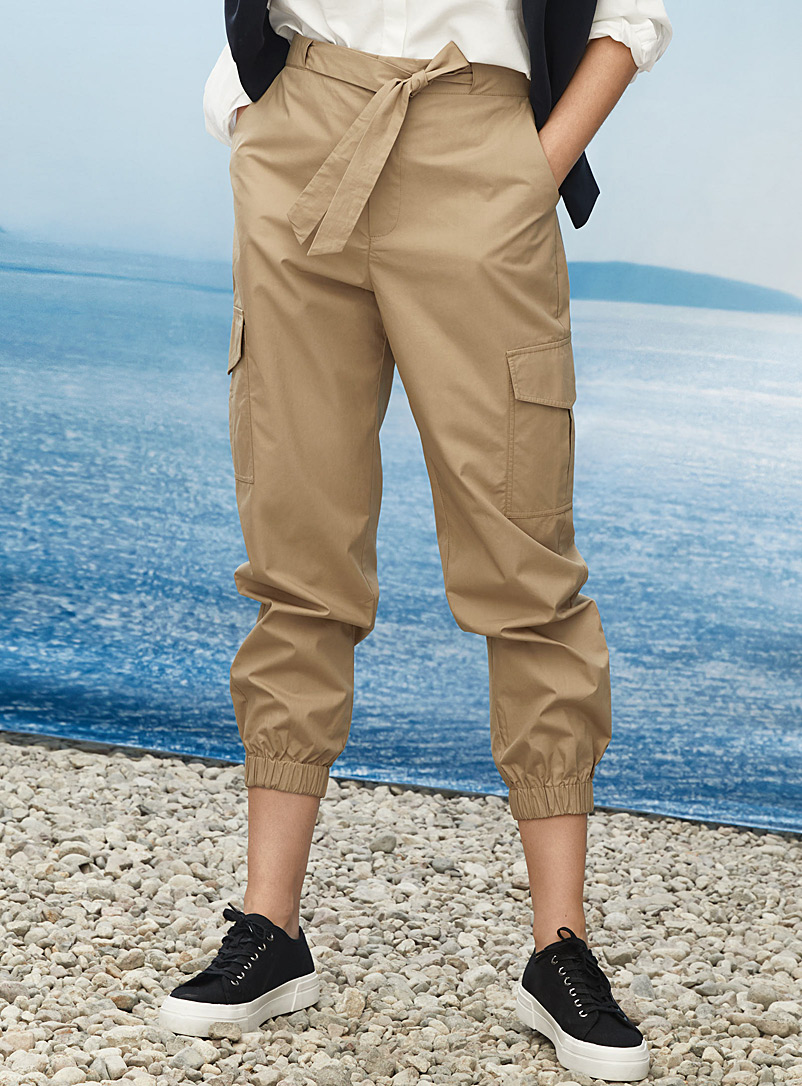 Contemporaine Honey Crisp cotton cargo pant for women